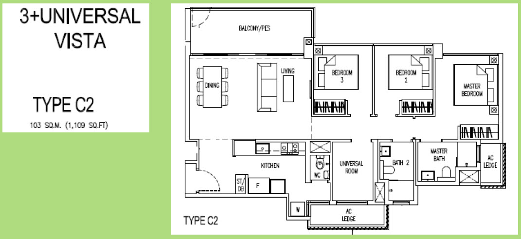 3 Bedroom + Universal Room at Parc Life EC