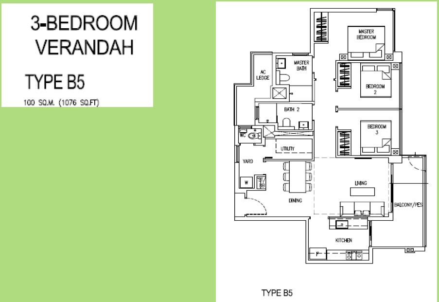 Parc Life Sembawang 3 Bedroom Verandah
